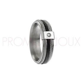 Bague Jourdan Hommes - Acier, Cable & Diamant DK 281 H