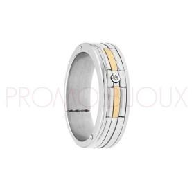 Bague Jourdan Hommes - Acier, Or 750 & Diamant FZ 044 H