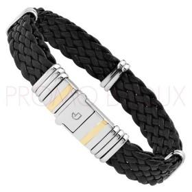 Bracelet Jourdan Homme - Cuir Tressé Noir & Acier 21cm