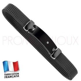 Bracelet Jourdan Homme - Maille Acier Noir Extensible - Céramique noire - diamant