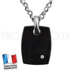 Collier Jourdan Homme - Acier & Céramique Noire avec Diamant