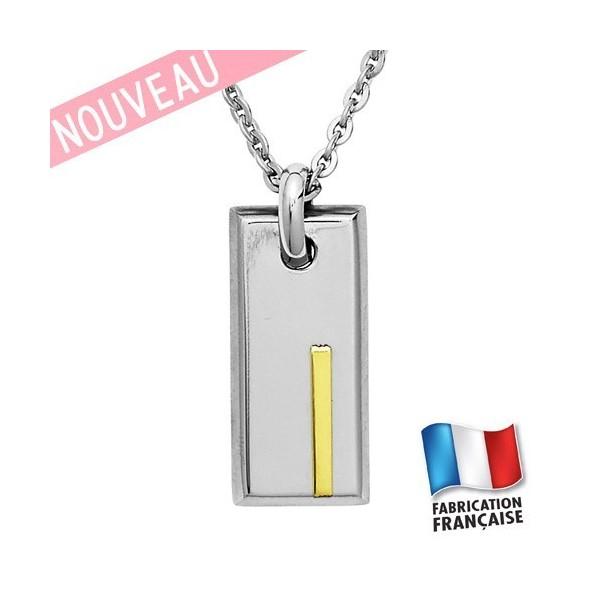 Collier Jourdan Homme - Pendentif Acier & Or 750