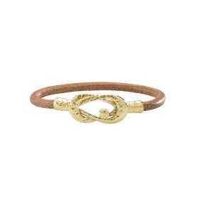 Bracelet Jourdan femme en cordon cuir naturel et Plaqué Or