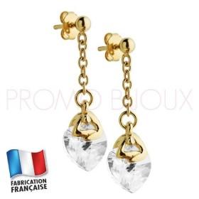 Boucles d'Oreilles Jourdan Plaqué Or Coeur Cristal Blanc