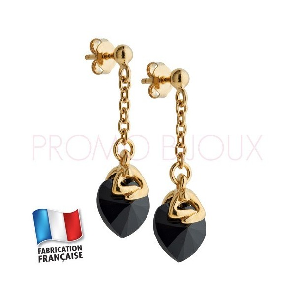 Boucles d'Oreilles Jourdan Plaqué Or Coeur Cristal Noir
