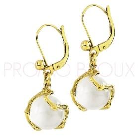 Boucles d'Oreilles Jourdan Plaqué Or et perle onyx blanche