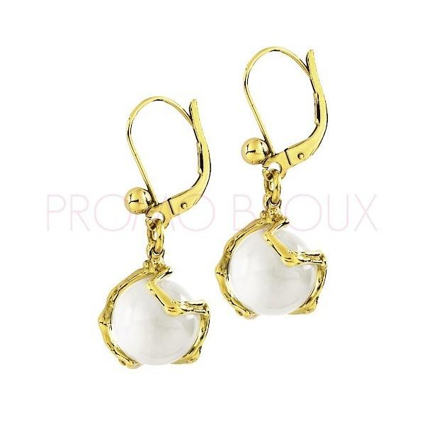 Boucles d'Oreilles Jourdan Plaqué Or perle onyx blanche