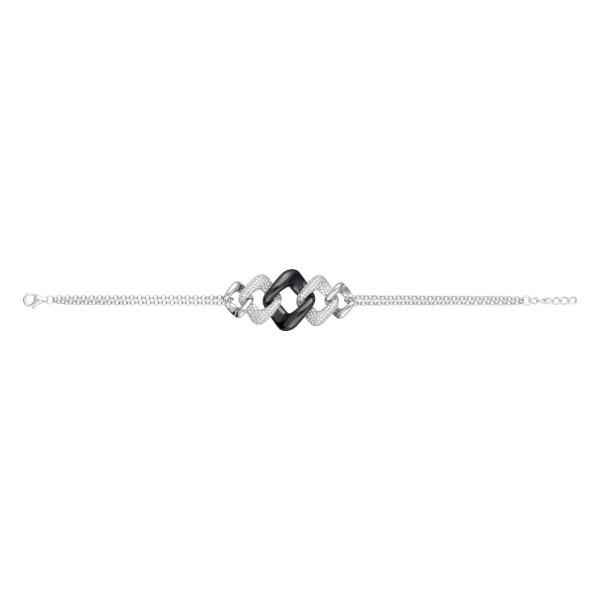 Bracelet Argent, céramique Noire Maille Losange et Oxydes de Zirconium