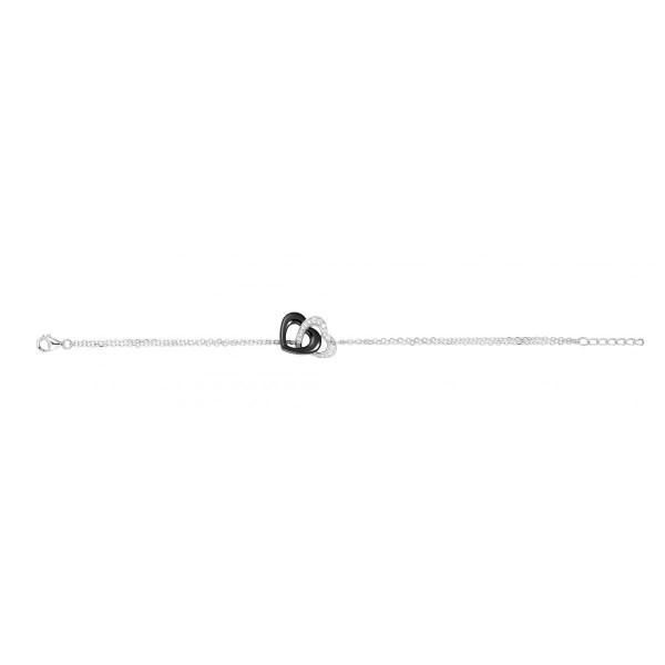 Bracelet Argent Double Chaîne, Coeurs Ceramique Noire et Oxydes de Zirconium