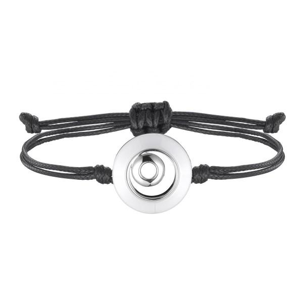 Bracelet Cordon Noir, Cercle Céramique Blanche et Argent