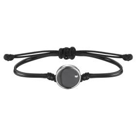 Bracelet Cordon Noir, Pastille Céramique Noire et Argent