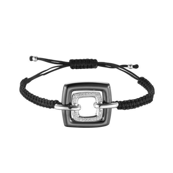 Bracelet Cordon, Carré céramique, Noir, Argent et Oxydes de Zirconium