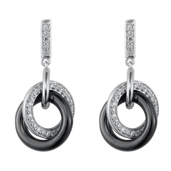 Boucles d'oreilles Argent Anneaux céramique Noire et Oxydes de Zirconium