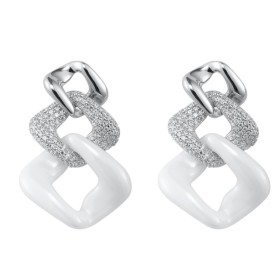 Boucles d'oreilles Argent céramique Blanche, Maille Losange et Oxydes de Zirconium