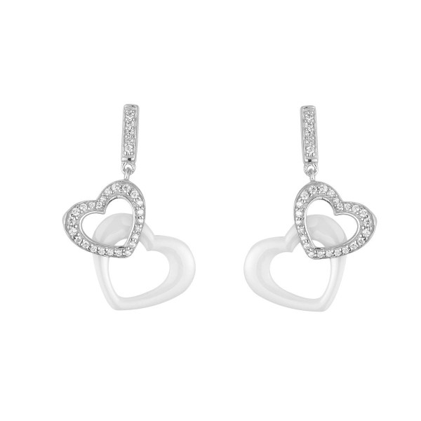 Boucles d'oreilles Argent Coeurs céramique Blanche et Oxydes de Zirconium
