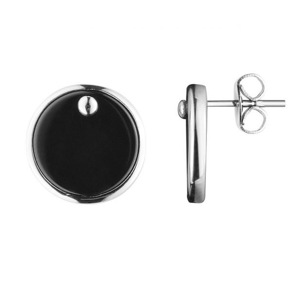 Boucles d'oreilles Argent et Pastille en céramique Noire