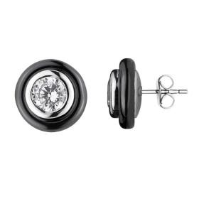 Boucles d'oreilles Argent, Cercles céramique Noire et Oxydes de Zirconium