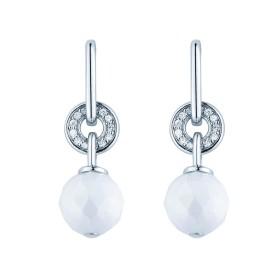 Boucles d'oreilles Argent Boules céramique Blanche Facettée et Oxydes de Zirconium