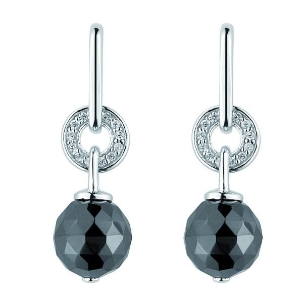 Boucles d'oreilles Argent Boules céramique Noire Facettée et Oxydes de Zirconium