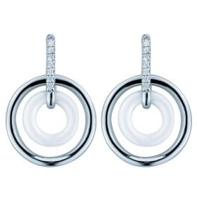 Boucles d'oreilles Argent Cercles céramique Blanche et Oxydes de Zirconium