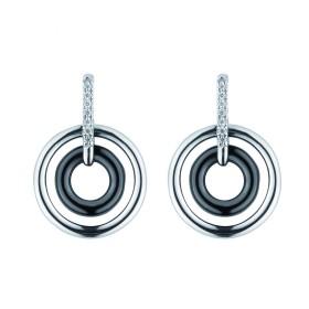 Boucles d'oreilles Argent Cercles céramique Noire et Oxydes de Zirconium