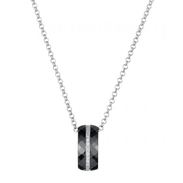 Collier Argent, Ceramique Noire facettée et Rail oxydes de zirconium