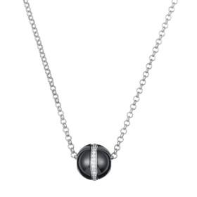 Collier Argent, Boule Ceramique Noire Lisse et Rail oxydes de zirconium