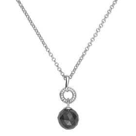 Collier Argent, Boule Ceramique Noire facettée et oxydes de zirconium