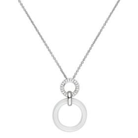 Collier Argent, anneau Ceramique Blanche Lisse et oxydes de zirconium