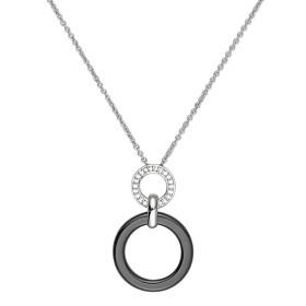 Collier Argent, anneau Ceramique Noire Lisse et oxydes de zirconium