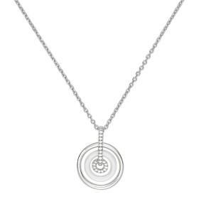 Collier Argent, Cercle Ceramique Blanche et oxydes de zirconium