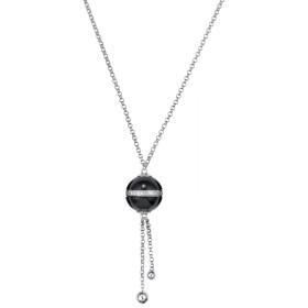 Collier Argent, Boule Ceramique Noire Lisse et oxydes de zirconium