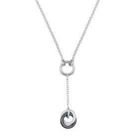 Collier Argent, anneau Ceramique Noire et oxydes de zirconium