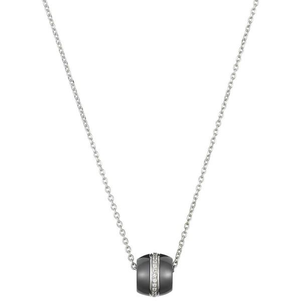 Collier Argent, Tonneau Ceramique Noire Lisse et Rail oxydes de zirconium