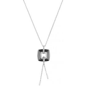 Collier Argent, Carré Ceramique Noire et oxydes de zirconium
