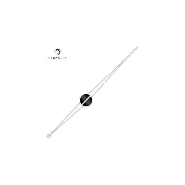 Bracelet Argent Double Chaîne, Pastille Ceramique Noire lisse et rail Oxydes de Zirconium