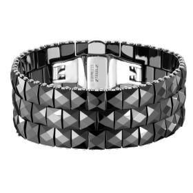 Bracelet Acier et Céramique noire facettée sur trois rangs