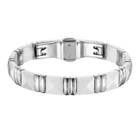 Bracelet Acier et Céramique blanche, Carrée Facettée