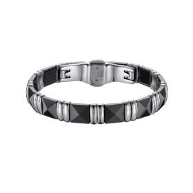 Bracelet Acier et Céramique noire, Carrée Facettée