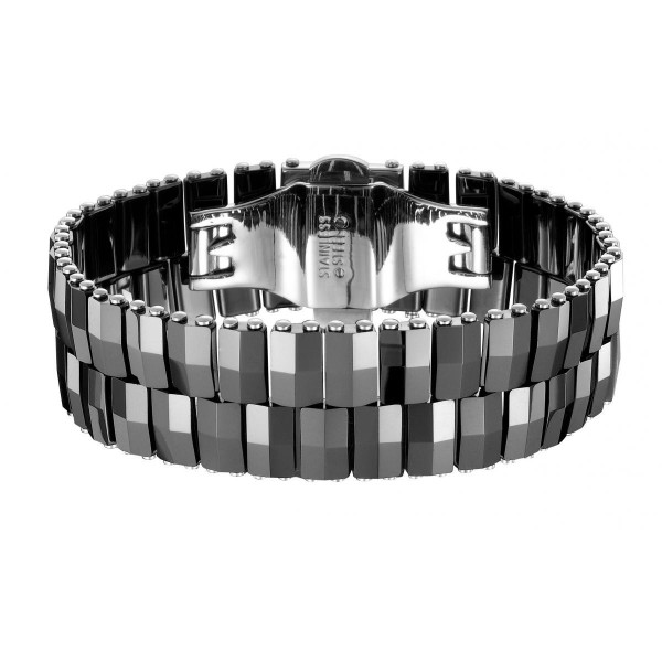 Bracelet Acier et Céramique noire facettée sur deux rangs