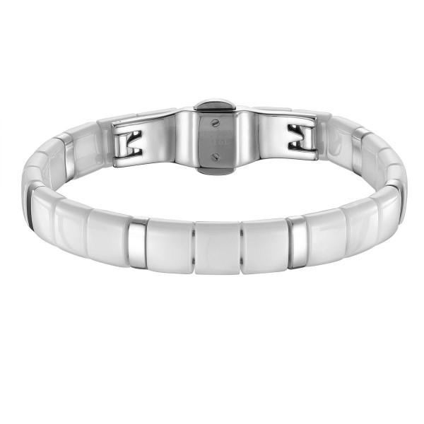 Bracelet Acier et Carrés Céramique blanche