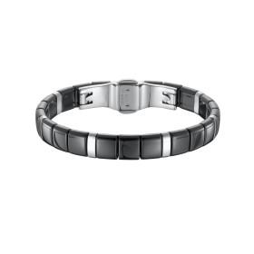 Bracelet Acier et Carrés Céramique noire