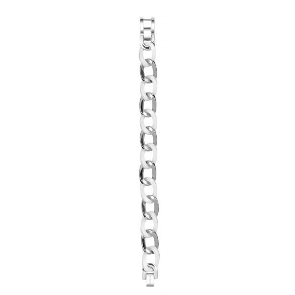 Bracelet Acier et Céramique Blanche Maille Gourmette