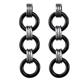 Boucles d'oreilles acier et Anneaux Ceramique Noire
