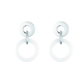 Boucles d'oreilles acier et Cercles Ceramique Blanche
