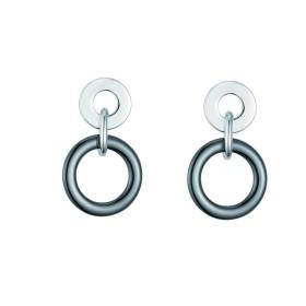 Boucles d'oreilles acier et Cercles Ceramique Noire