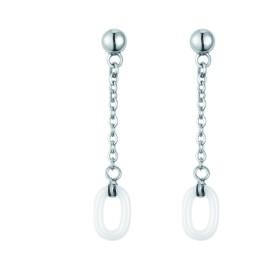 Boucles d'oreilles acier et Ceramique Blanche Ovale
