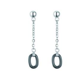 Boucles d'oreilles acier et Ceramique Noire Ovale