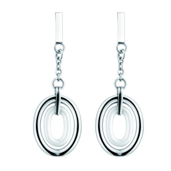 Boucles d'oreilles acier et Ovales Ceramique Blanche