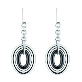 Boucles d'oreilles acier et Ovales Ceramique Noire